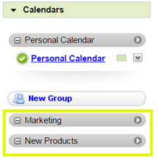 Calendar groups display in the left pane