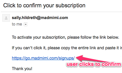 Here's an example of a Email Marketing Double opt in Confirmation link