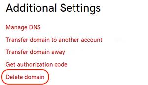 Delete domain link