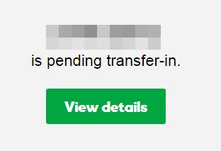 Transfer in status card