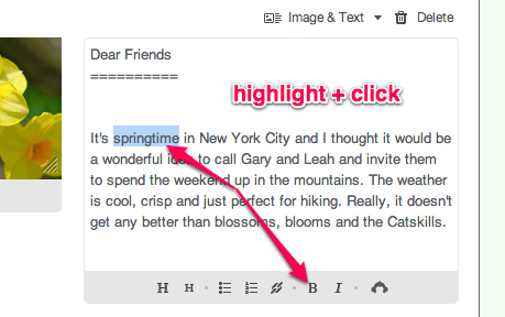 Highlight text and click B