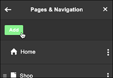 Click Add in Pages & Navigation panel