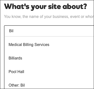 Enter type of site or business