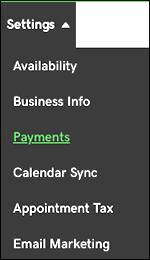 click payments in menu