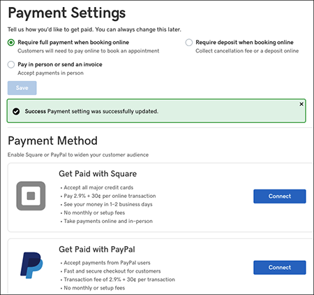 Payment settings window