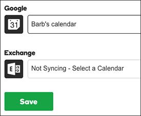click settings, choose calendar sync