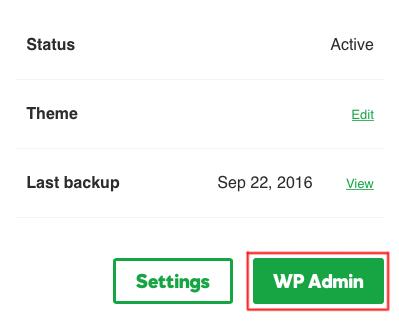 Click WP Admin.