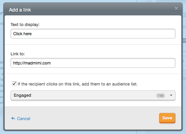 Mad Mimi Email Marketing Link To List Add On