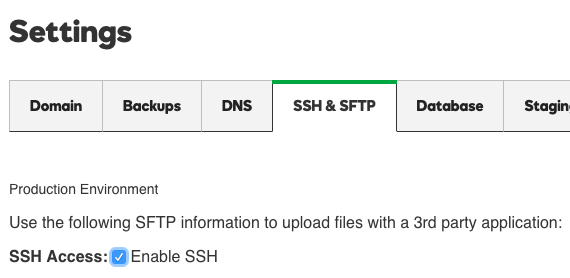 click the box to enable SSH