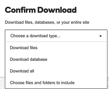 choose a download type from the list