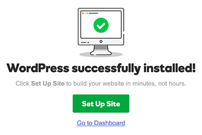 managed wordpress install successful
