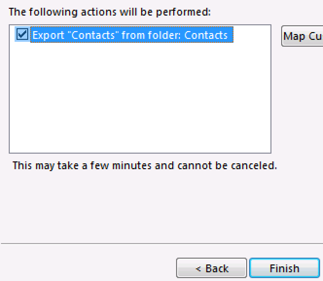 Confirm action is selected and finish.