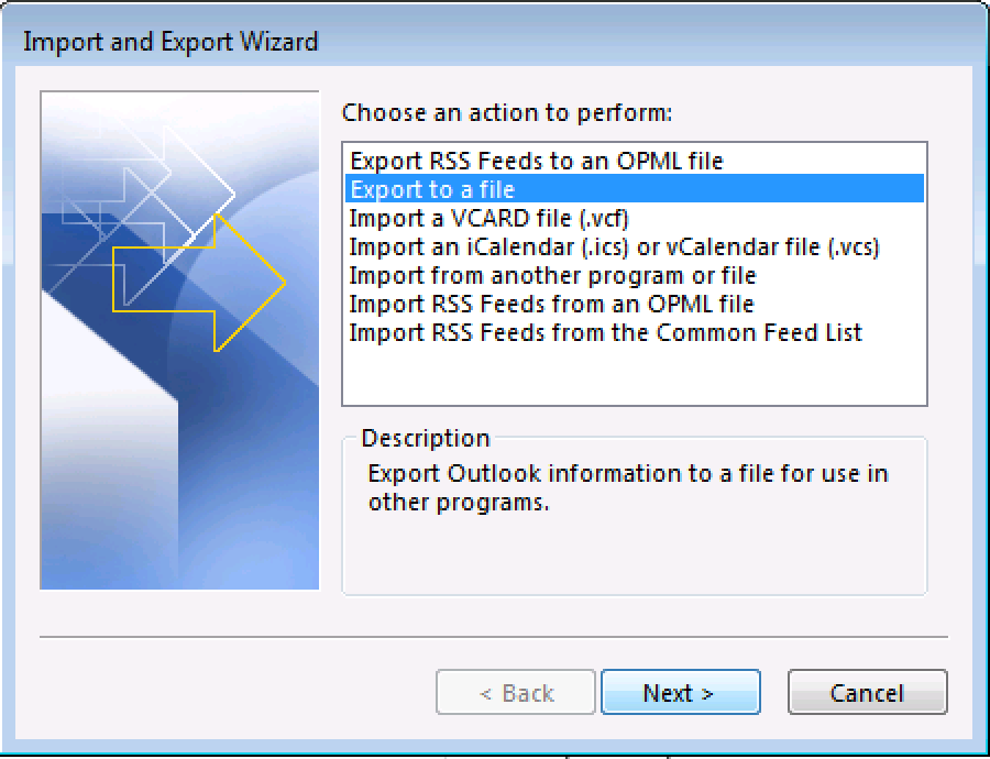 Choose Export to a file from the wizard window.