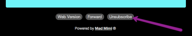 the unsubscribe button at the bottom of a Email Marketing email