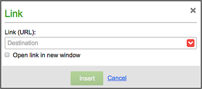 Use the Link window to select a Destination for your text link