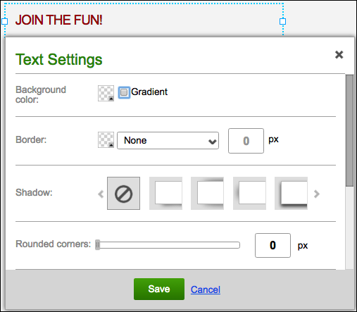 Click text box and select a button.