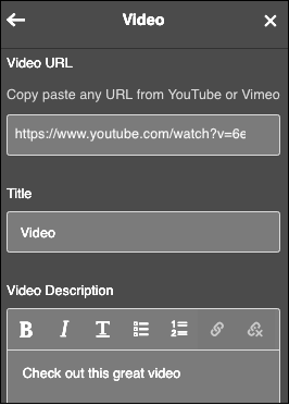 fill in fields for video