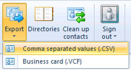 Click Export from the ribbon and choose CSV.