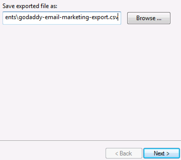 Enter file name and browse for save location.