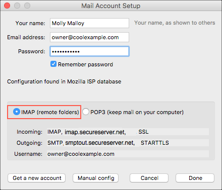 Select IMAP (remote folders)