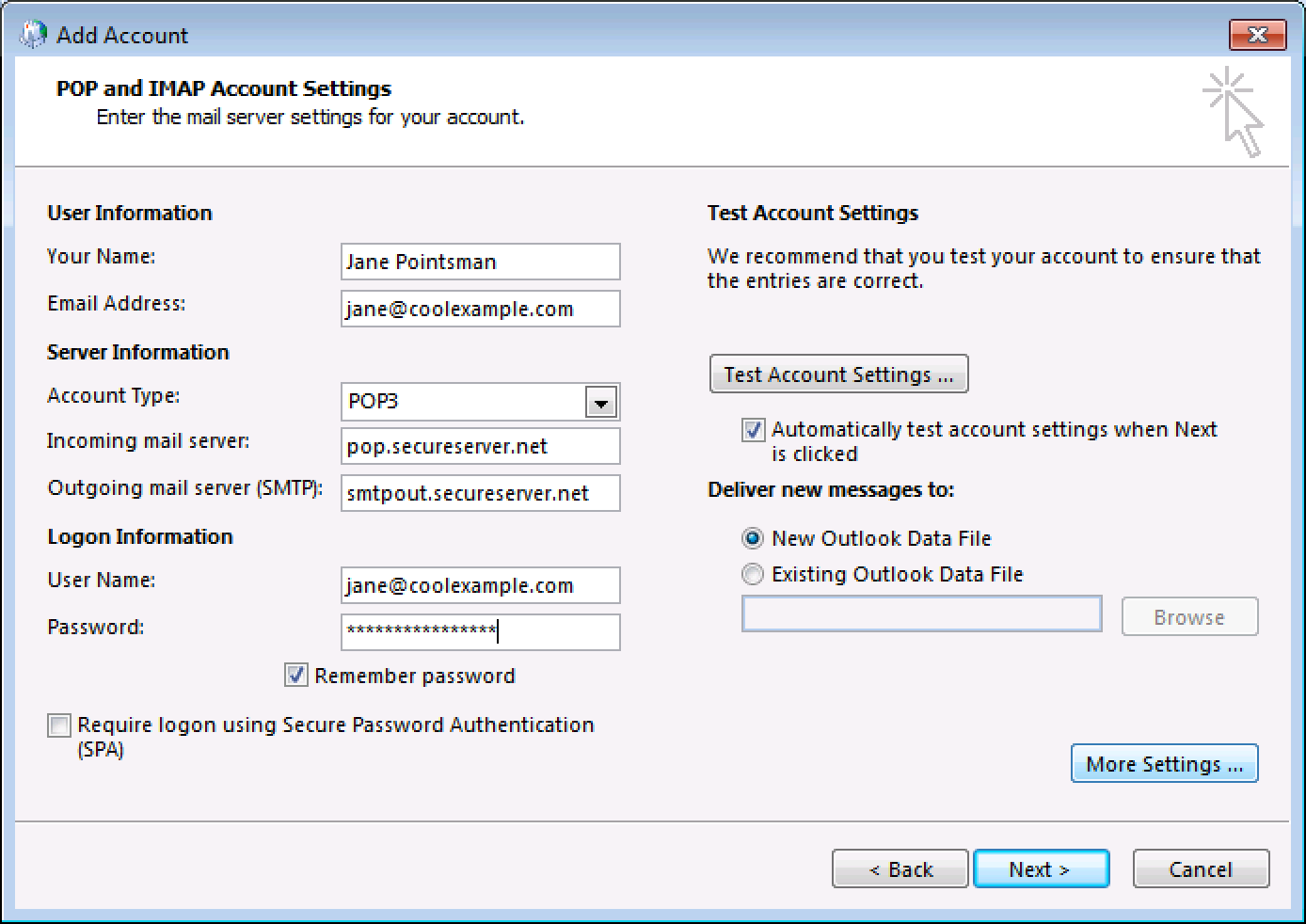 Enter email account settings