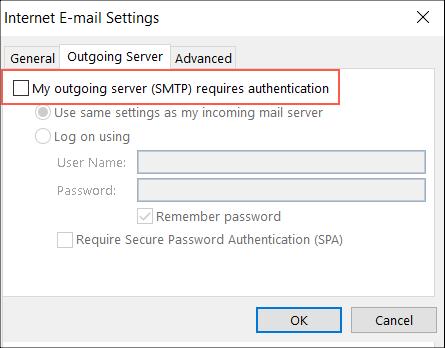 Select authentication option