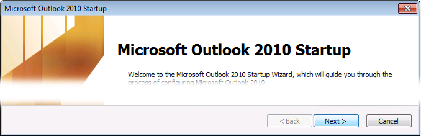 Outlook 2010 welcome screen, click Next