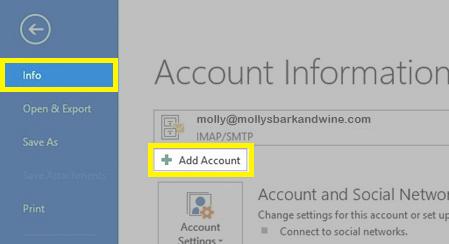 Under Info, click Add Account.