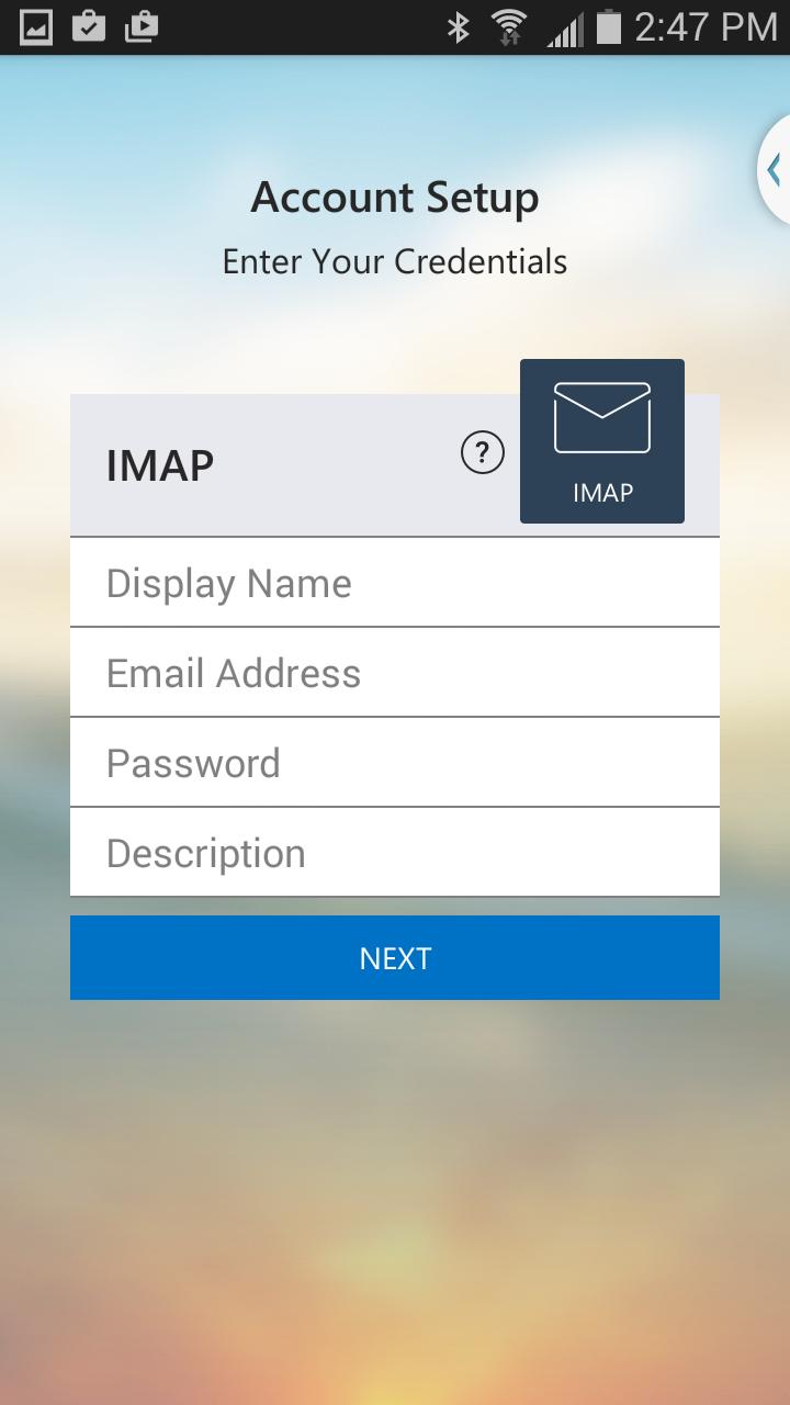 Enter email address details.