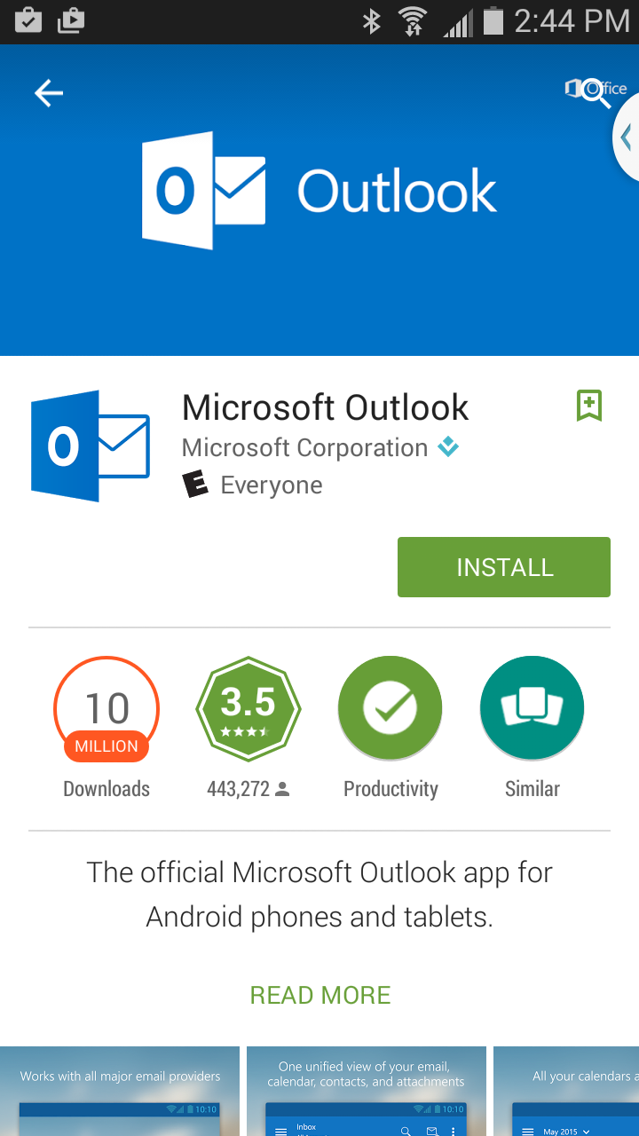 Click Install on Outlook app in Play Store.