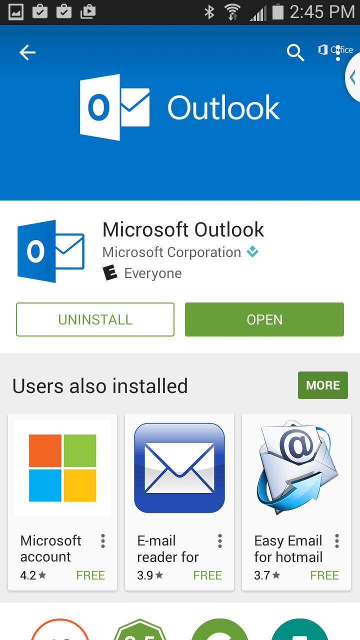 Click open on Outlook app in Play Store.
