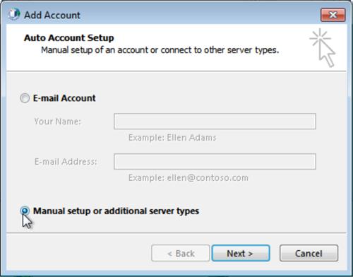 Select Manual setup or additional server types, click Next