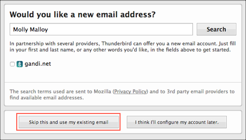 Use existing email address