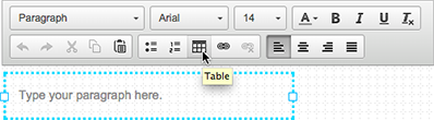 Click the table icon in the text box editor.
