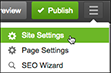 Click the three-bar icon (Manage Settings) to manage your site settings