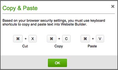 Clicking the text box editor's Cut, Copy or Paste buttons will trigger an alert that your Web browser does not allow their use.