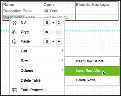 Right-click inside the table and make a choice in the menu.